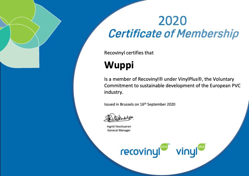 Recovinyl Certificate 2020 Wuppi